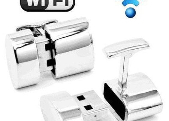 Polished Silver Oval WIFI and 2GB USB Cufflinks