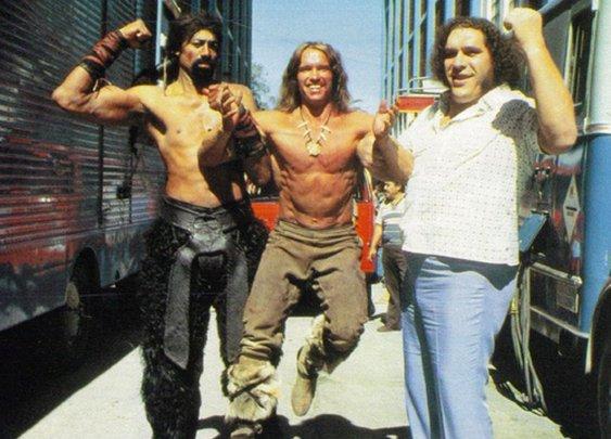 Wilt Chamberlain, Arnold Schwarzenegger and Andre the Giant