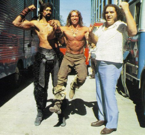 Wilt Chamberlain, Arnold Schwarzenegger and Andre the Giant