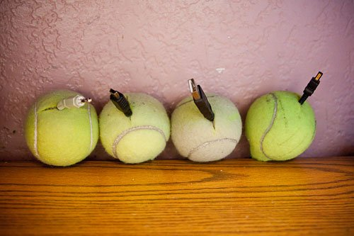 Cable Management with Tennis Balls