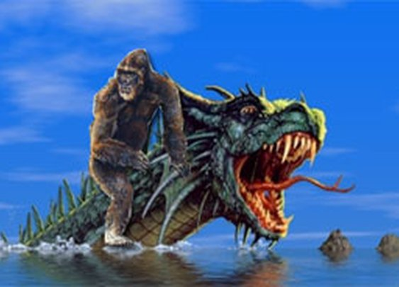 Bigfoot riding a Sea Monster