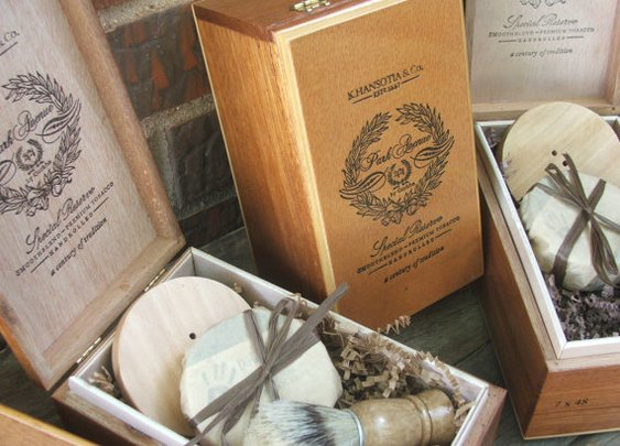 Groomsmen 4 piece set Wooden Men's Shave Set by DirtyDeedsSoaps