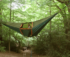 Tree-hanging tent provides above-ground shelter