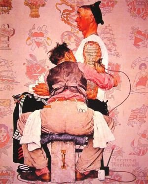 NORMAN ROCKWELL AMERICANA | THE TATTOOOIST, CIRCA 1944 « The Selvedge Yard