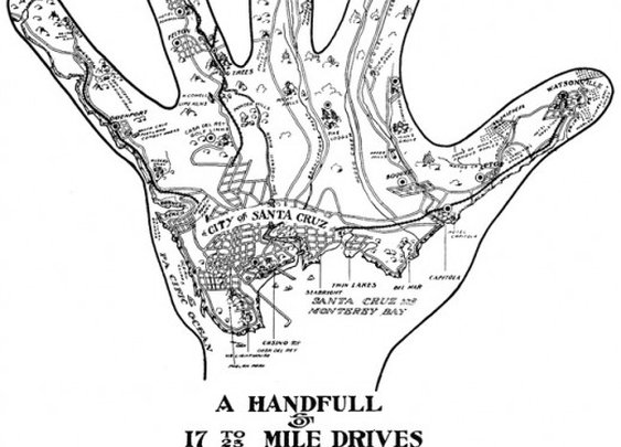 Santa Cruz Hand Map, 1912 | Retronaut