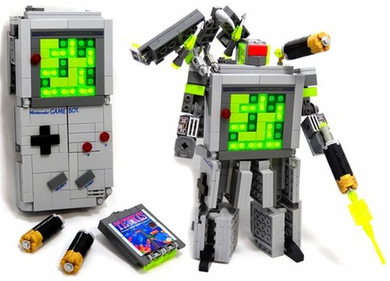 Nintendo Game Boy & Tetris Transformers creation by Julius von Brunk