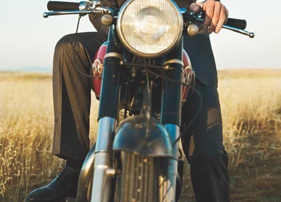Suit and motorcycle