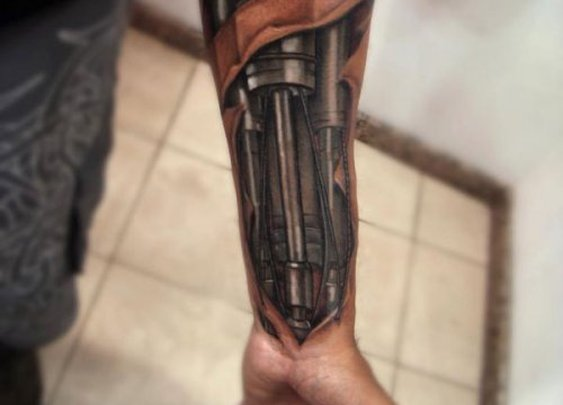 Incredible Cyborg Arm Terminator Tattoo