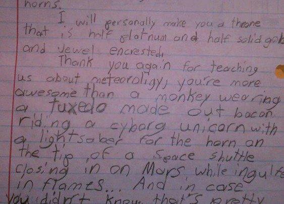 4th Grader's Epic Letter