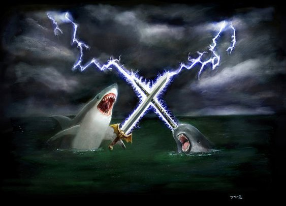 Shark vs Narwhal 16x20 by LegendaryTigerHero on Etsy