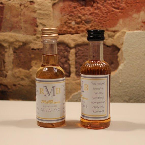 25 Custom Mini Liquor Bottle Labels Wedding By