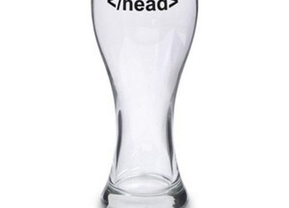 ThinkGeek :: </head> Tag Beer Glass