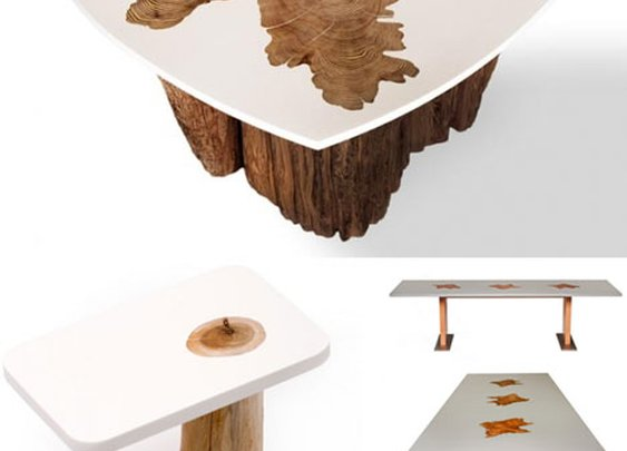 Modern Log Furniture Fuses Sliced Trunks & Organic Resins | Designs & Ideas on Dornob