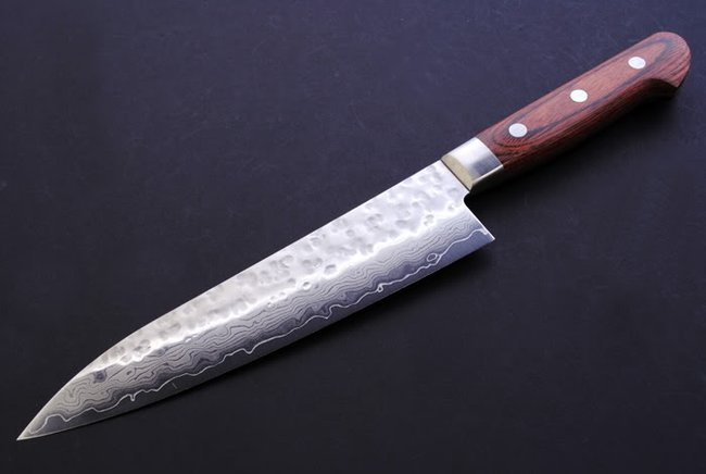 yoshihiro vg 10 hammered damascus gyuto knife 7 180mm e chef knife top quality knives. Black Bedroom Furniture Sets. Home Design Ideas