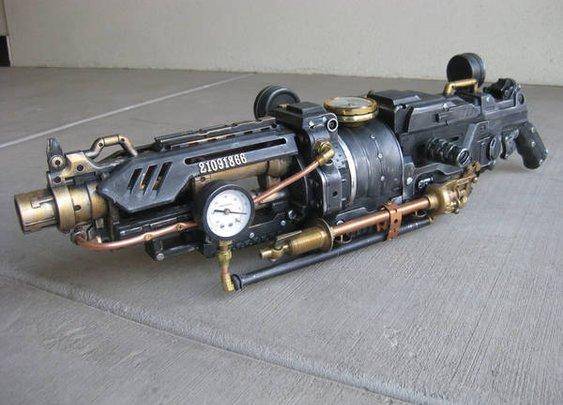 Badass steampunk Nerfgun-cum-raygun