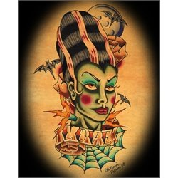 Bride of frankenstein by christopher perrin lowbrow tattoo for Tattoo artists orange county