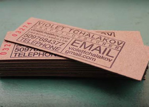 Business card themed after a ticket. Kraft paper business card.