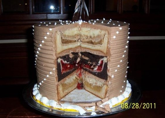 A Cherry Pie, an Apple Pie and a Pumpkin Pie, Each Cooked Inside a Separate Cake, Then Stacked Together and Iced to Form Another Cake