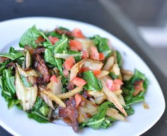 Swiss Chard with Bacon and White Balsamic Vinegar.