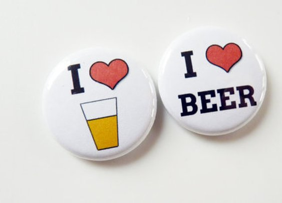 I Heart Beer  Four Beer Alcohol Button Magnets  by Buttonlandia