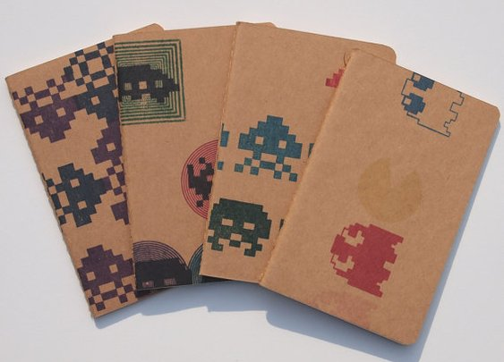 Retro Arcade pocket moleskines by blackbirdandpeacock
