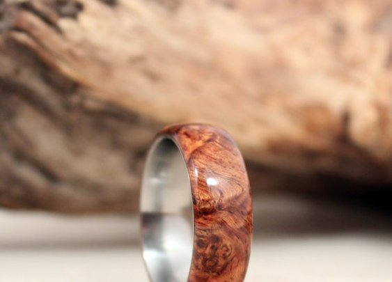 Honduras Rosewood Burl Lined with Titanium Wood by WedgewoodRings