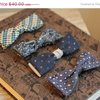 Vintage Bow Ties clip on set of 4 different shades by MollyFinds
