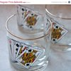 Playing Cards barware set vintage drinking glasses by MollyFinds