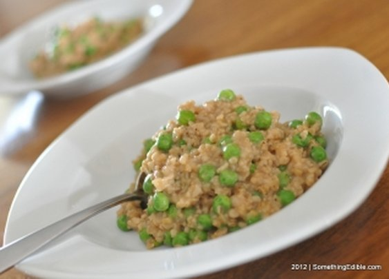 Simple Sunday Dinner Sides: Savory Steel Cut Oats with Peas.