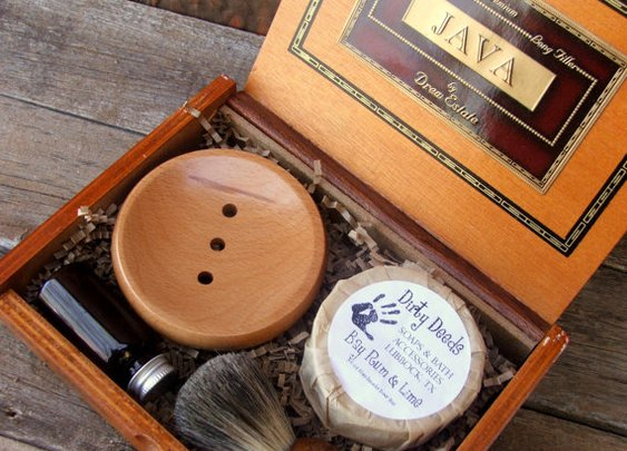 Shaving Kit Badger Brush Cigar Box Beer Soap by DirtyDeedsSoaps