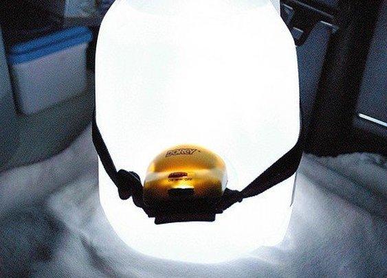 Headlamp + Water Jug = Camp Lantern