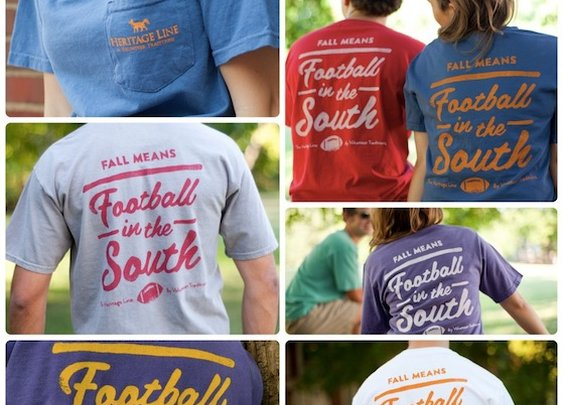 Football in the South Pocket Tees by Volunteer Traditions