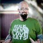 Jackson Galaxy   Real Men Love Cats  Mens tshirt  by rctees