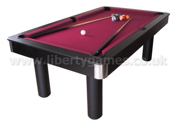 Pro american deluxe 6 foot pool table with red cloth for Pool table 6 x 3