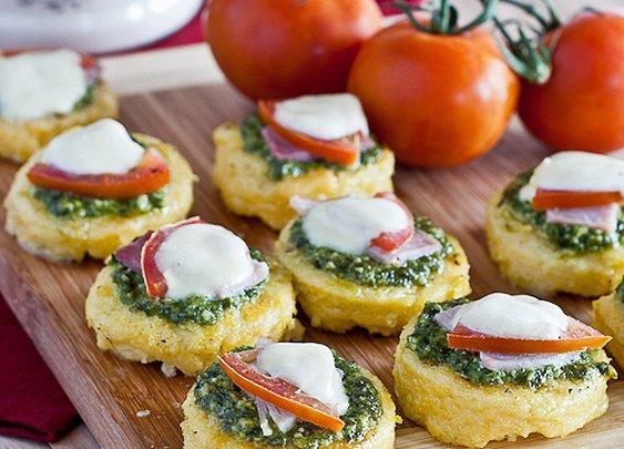 Pesto, Mozzarella Polenta Appetizers