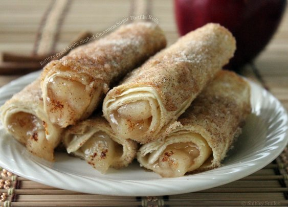 Buttery Fried Apple Stuffed Cinnamon Sugar Tortilla Rolls