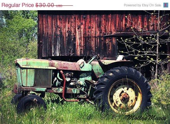 Art Sale John Deere Decor Vintage Tractor With Old By Mollysmuses Gentlemint