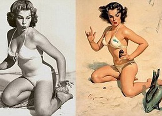 Even Fifties pin-ups got the airbrush treatment! Before-and-after images reveal how artists retouched bikini shots    Mail Online