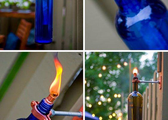 diy project: erik's recycled wine bottle torch | Design*Sponge