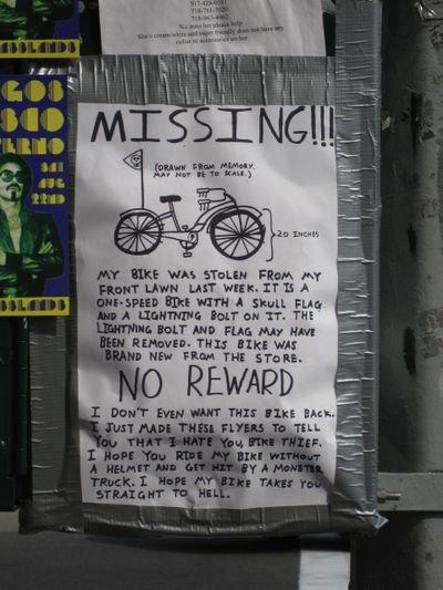 We Hate You, Bike Thief!
