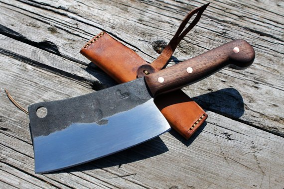 Hand forged cleaver Made to order by Nate Runals Blacksmith
