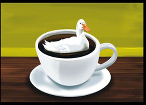 There's a duck in my coffee - signed print - The Oatmeal