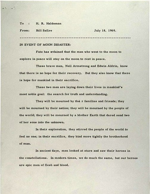 President Nixon's Speech if the Moon Landing Had Failed