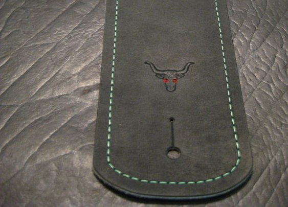 Custom Guitar Strap/ Green Stitch/ Pick by TrickedOutLeather