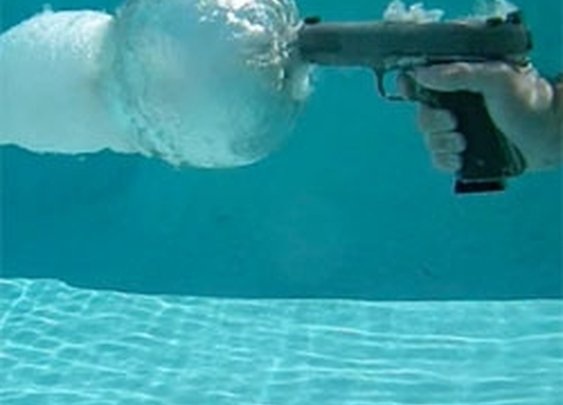 What a gun being fired underwater looks like.