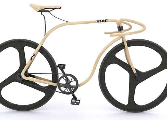 Wood bike, bent with steam.