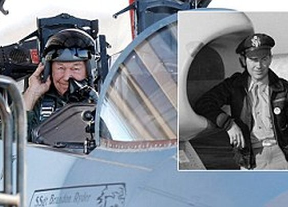 Still faster than the speed of sound: Chuck Yeager, 89, recreates historic mission 65 years to the day since first supersonic flight  | Mail Online