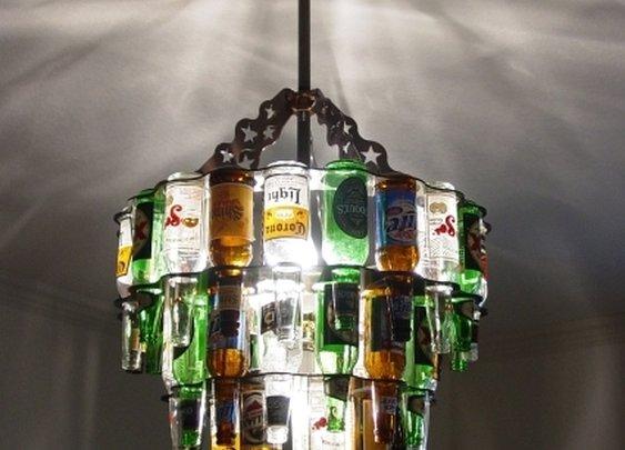 Unique beer bottle chandeliers and bar lighting
