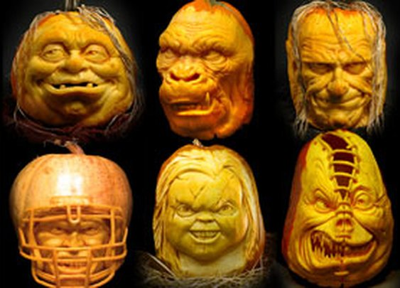 Spooky 3D carvings made by artist Ray Villafane out of pumpkins