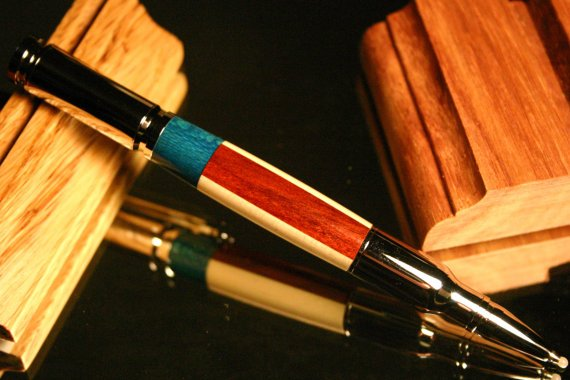 Bullet Pen American flag in handcrafted wood by HopeAndGracePens